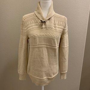 L.O.G.G. by H&M Shawl Collar Cream Knit Sweater